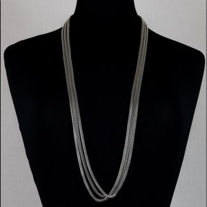 Three layer silver long necklace